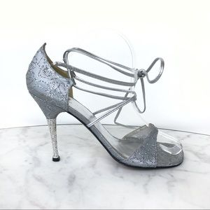 Stuart Weizman Silver Heels with Crystal pave